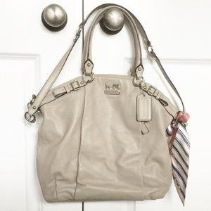 Coach Purse Crossbody Classic Taupe with Silk Tie